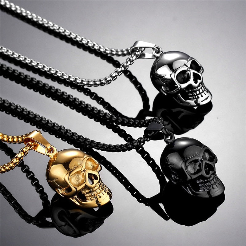 Gothic Stainless Steel Skull Necklace Biker Pendant and Chain for Men / Women Punk Gold Gift / Black / Silver Color