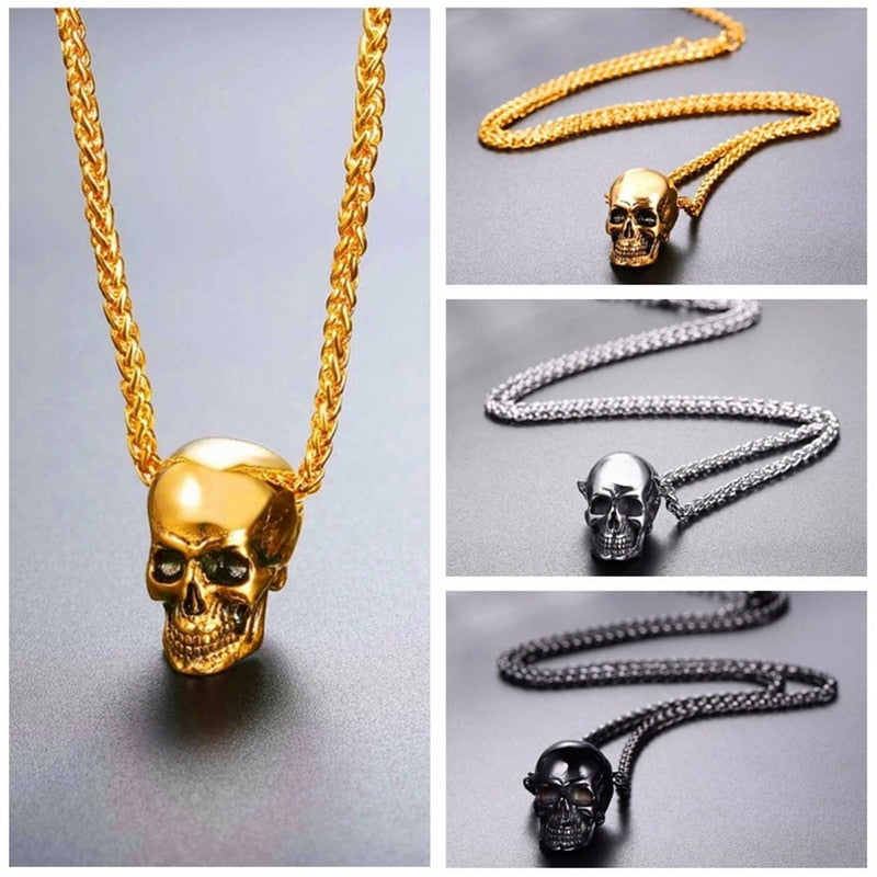 Skull Pendant Necklace Gothic Biker Rock Punk Stainless Steel Gold/Black/silver Color - Smelloncollie