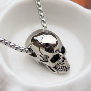 HNSP Punk Stainless Steel Chain + Alloy Skull Pendant Necklace For Men Male 2019 New