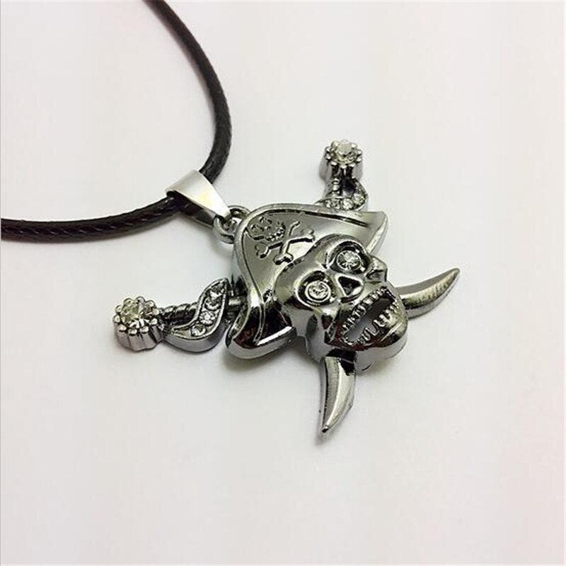 Pirates of the Caribbean Skull Pendant Necklace Men Captain Jack With Two Sword Rhinestone Crossbones Statement Necklace Jewelry