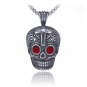 Fashion Red Eye Demon Skull Stainless Steel Pendant Necklace Mens Vintage Punk Long Chain Necklace Personality Hip-hop Jewelry