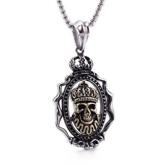 Hiphop Mens Gothic King Skull Stainless Steel Pendant Necklace for Men Punk Skeleton Tag Vintage Silver Chain Necklaces JON157