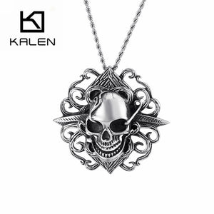 KALEN Punk Skull Stainless Steel Pendant Necklaces For Men Gothic Skeleton Chain Choker Male Fashion Jewelry