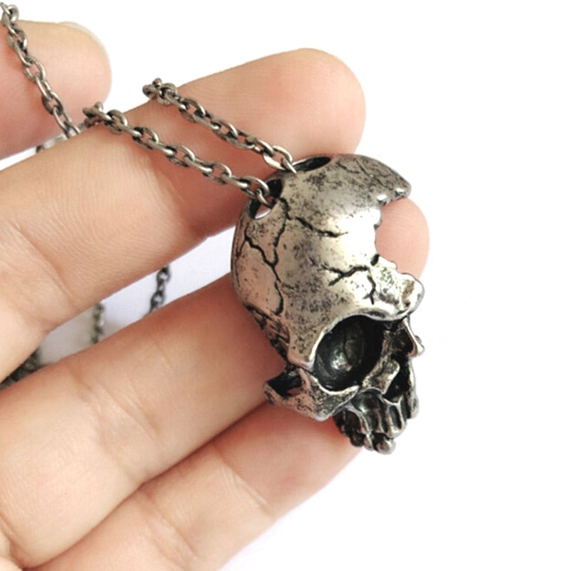 Broken Damaged Half Face Skull Pendant Necklace Men's Fashion Biker Rock Punk Jewelry Antique 2 Color Chain Length 55cm
