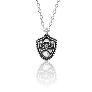 New Gothic Skull Pendant Necklace Punk Mens Jewelry Hip Hop Shield Pirate Necklaces & Pendants For Men Vintage Silver Choker