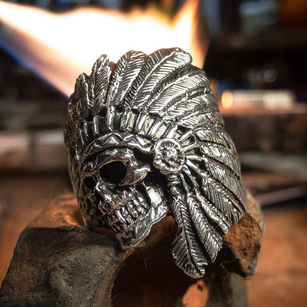Tribe Warrior Skull Ring - Smelloncollie