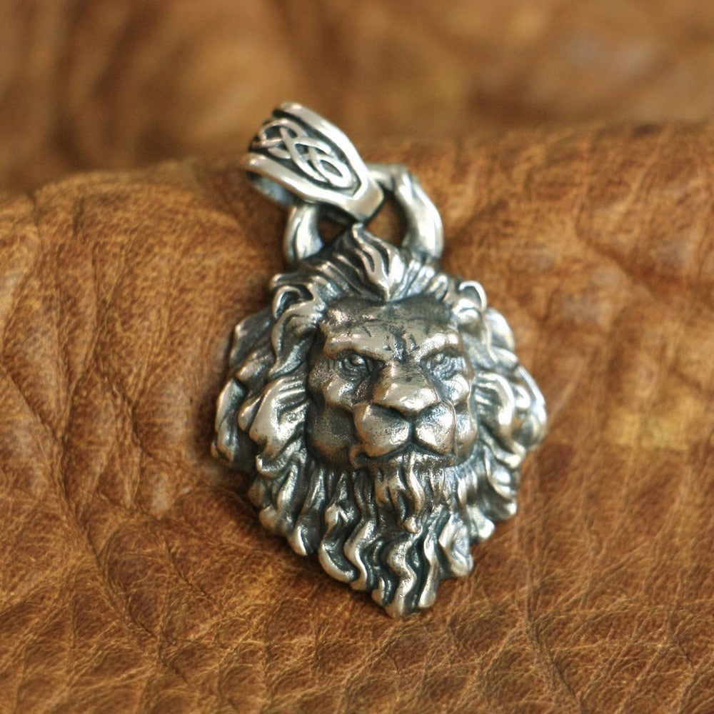Handmade 925 Sterling Silver Lion Pendant - H7801 - Smelloncollie