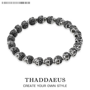 Black Zirconia Skeleton Skull Bracelet,Thomas Style Heart Good Jewelry For Women,2020 Gift In Silver