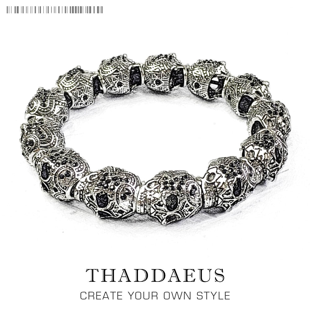 Bracelet Skull Skeleton King Beads Gift For Ts Men & Women