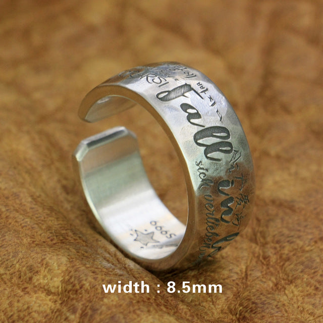 999 Pure Silver Fall in love 10 Language Engraveing Customize Couple Ring 9Y020