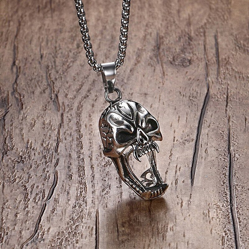 Skull Pendant Necklace Stainless Steel