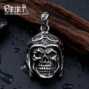 Beier 316L Stainless Steel pendant necklace punk skull cool classes pendant Fashion  jewelry  LLBP8-200R