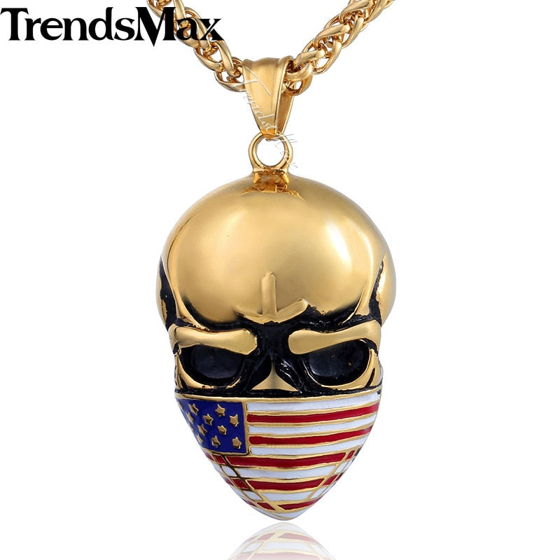 US America Flag Skull Pendant Men's Necklace Silver Gold Color 316L Stainless Steel - Smelloncollie