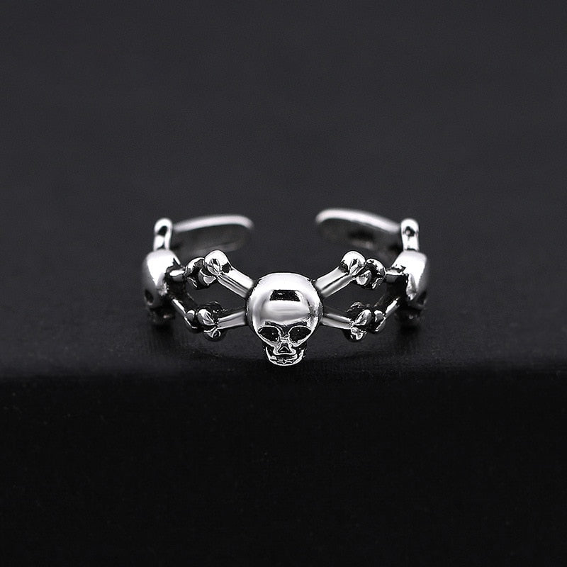 Handmade 925 Sterling Silver Skull Ring for men-High qulity handcraft SH741: Adjustable Size - Smelloncollie
