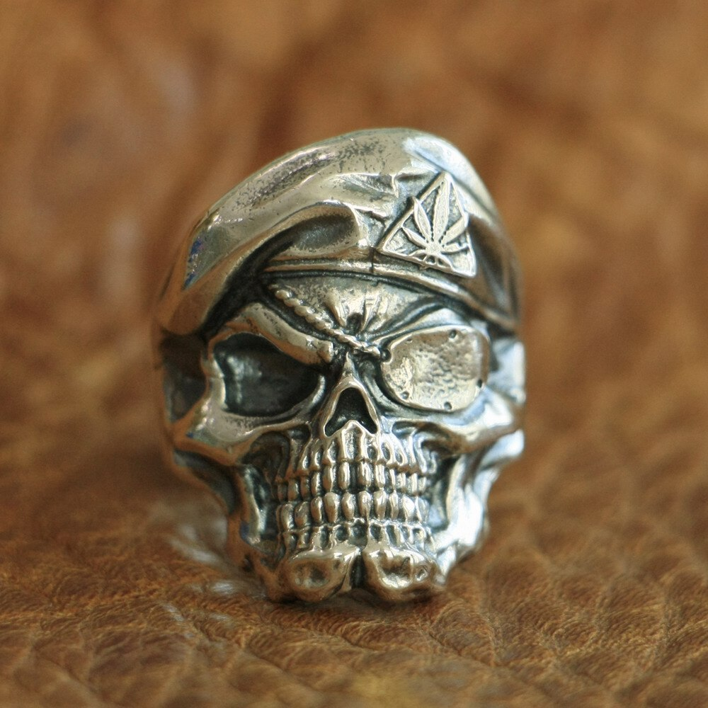 925 Sterling Silver Pirate Skull Ring Mens Biker Punk Ring - Smelloncollie