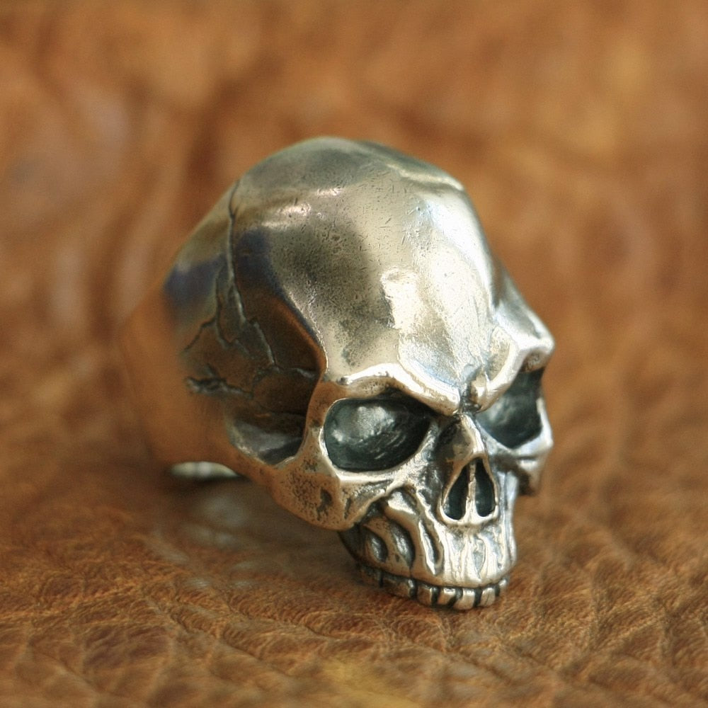 Handmade 925 Sterling Silver Skull for men - High Qulity Handcraft - Vintage Biker Rock Punk Style SH776 - Smelloncollie