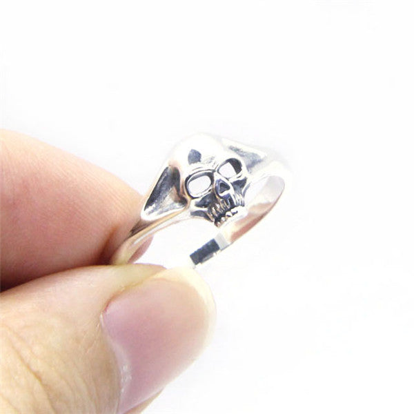 Best Seller Ladies Mini Biker Skull Ring Real 925 Silver Top Quality - Smelloncollie