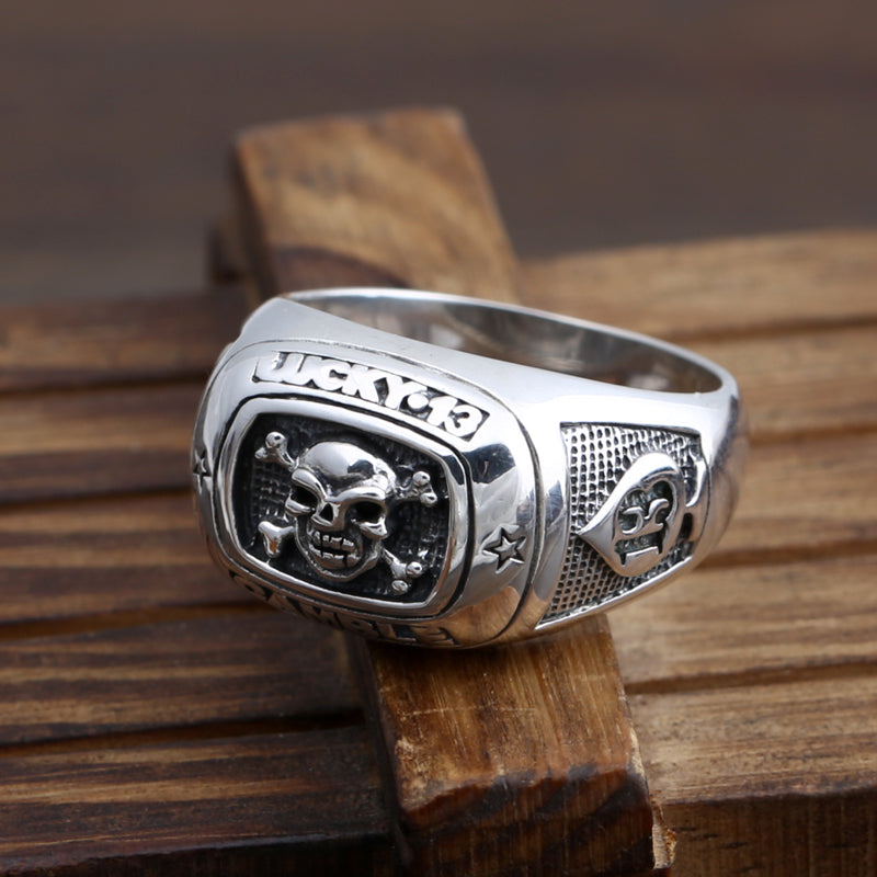 Thai silver jewelry manufacturer S925 Sterling Silver American Punk Skull Knight cross fashion men's section ring - Smelloncollie