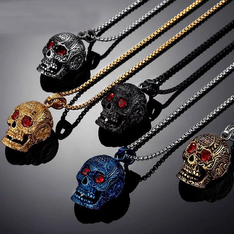 Punk Style 3D Red Eyes Skull Pendant Necklace For Men 316L Stainless Steel Biker Punk Vintage Jewelry Silver Color Gift NO CHAIN