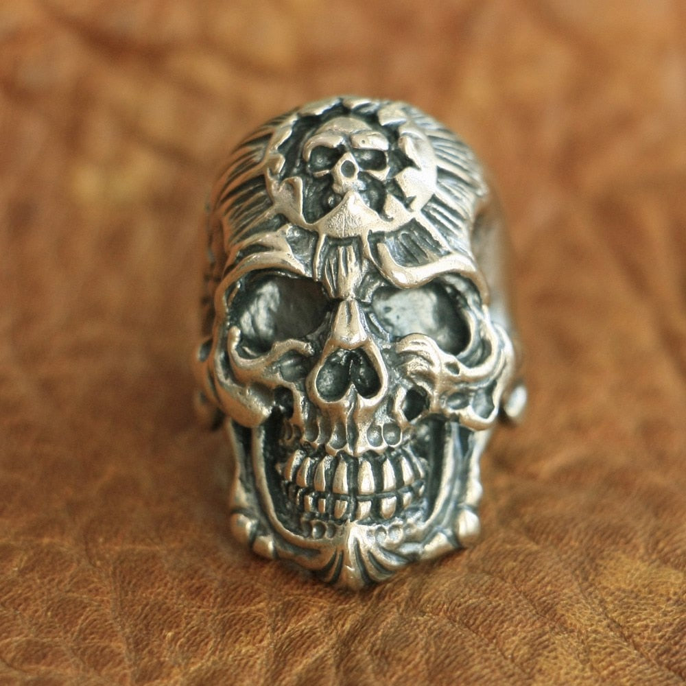 Handmade 925 Sterling Silver Skull Ring Mens Biker Rock Punk Ring SH799 - Smelloncollie
