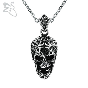 ZS Punk Skull Stainless Steel Pendant Necklace for Men Vintage Rock Roll Necklaces Male Biker Jewelry Hip Hop Accessories Gifts