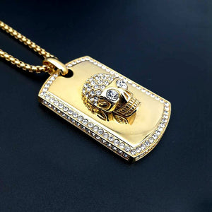 Hip Hop Rock Full Rhinestones Bling Ice Out Skull Pendant Necklace Stainless Steel Gold Square Dog Tag for Men Rapper Jewerly