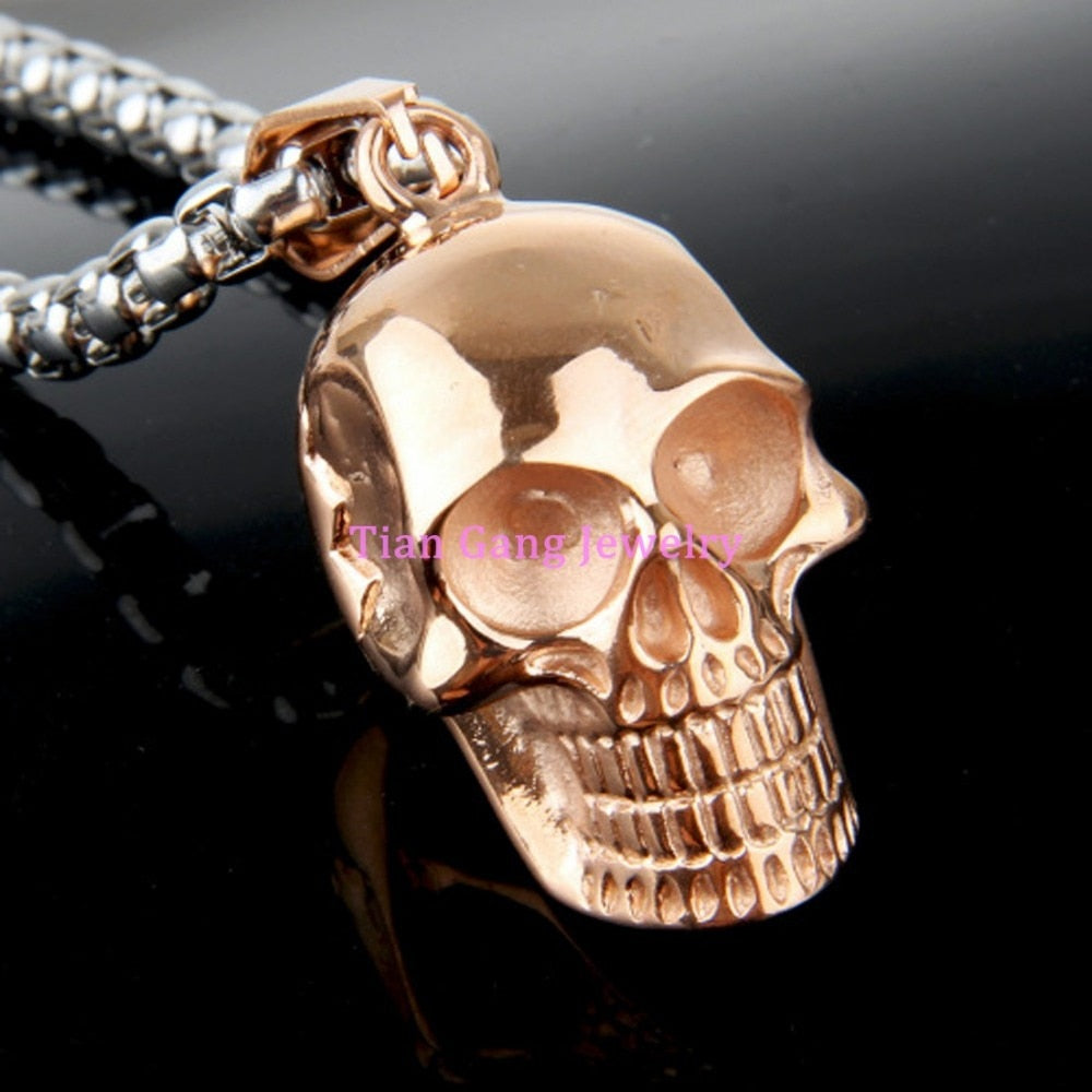 Personality Cool Black or Rose Gold Choose Stainless Steel Pendant Necklace Jewelry Men Chain Necklace Skull Punk Necklace