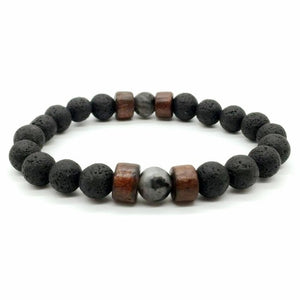 Antique Natural Stone Beads Lava Bracelet For Men Armband Jewelry Set High Grade - Smelloncollie