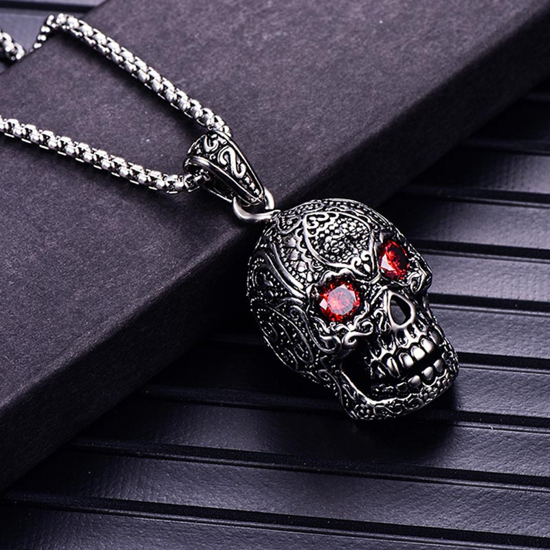 ZFVB Vintage Skull Necklace for Men Stainless Steel Silver Color Cubic Zirconia Punk Skeleton Skull Pendant Necklace Jewelry