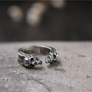 925 Sterling Silver Biker Skull Ring Double Headed for Man Unique Wholesale Price 925 Silver Jewelry