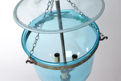 Antique Indian Bell Jar Lantern, Aqua