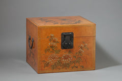 Leather File Box, Chrysanthemum Painting