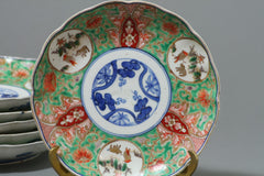 Ko-Imari Plates Green Glaze, Set of 6