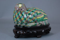 Porcelain Quail Box on Carved Stand, Polychrome