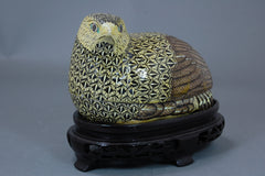 Porcelain Quail Box on Carved Stand, Yellow