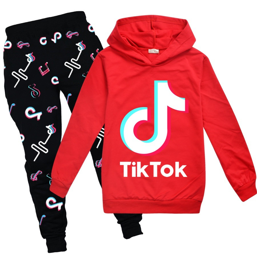 Forlcool TIK Tok Hoodie with Pants 2 Piece Suit Fashion Letter Graphic Tracksuit Set Fashion Pullover Sweater with A Kangaroo Pocket