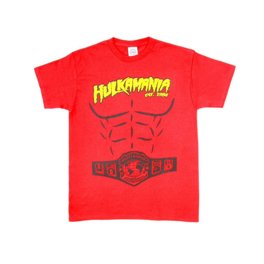Red Hulkamania Heavyweight Champion Shirt Kids front