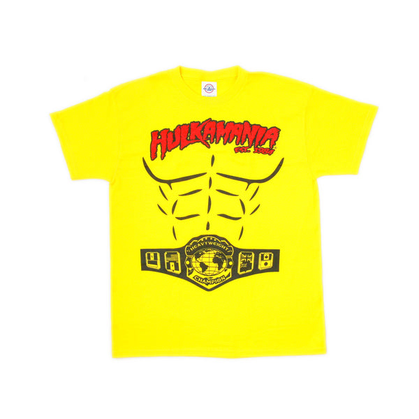 Yellow Hulkamania Heavyweight Champion Shirt Kids front