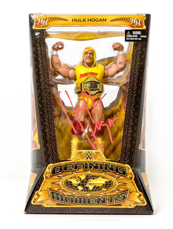 WWE Defining Moments Hulkamania Hulk Hogan Autographed Figure front