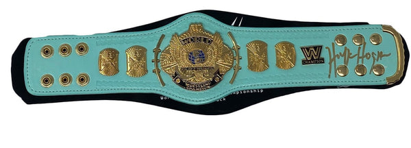 WWE Blue Winged Eagle Championship Mini Replica Title Belt signed