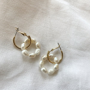 Mini Pearl Huggie Hoops