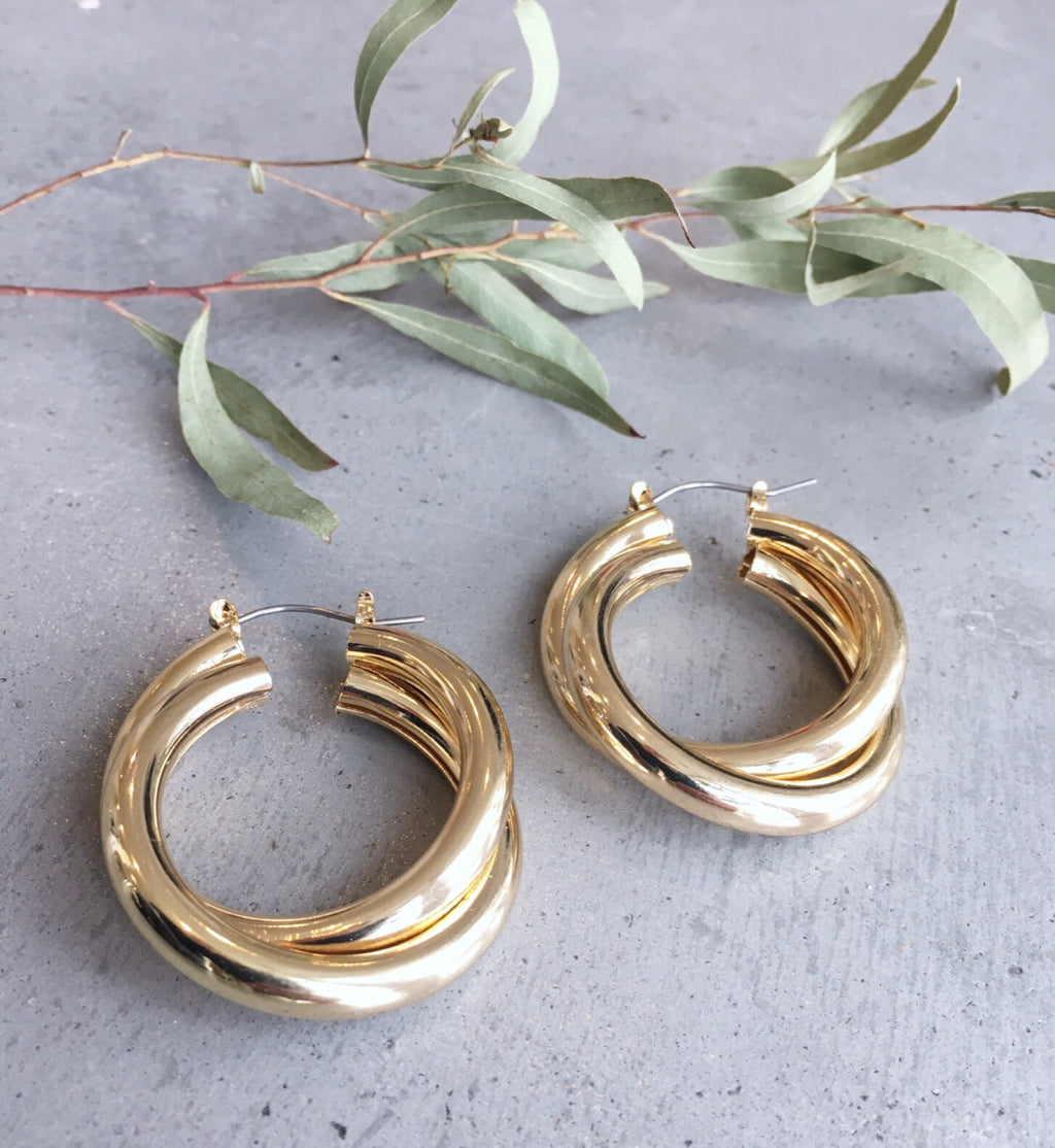 Gold Doubled Hoop Earring