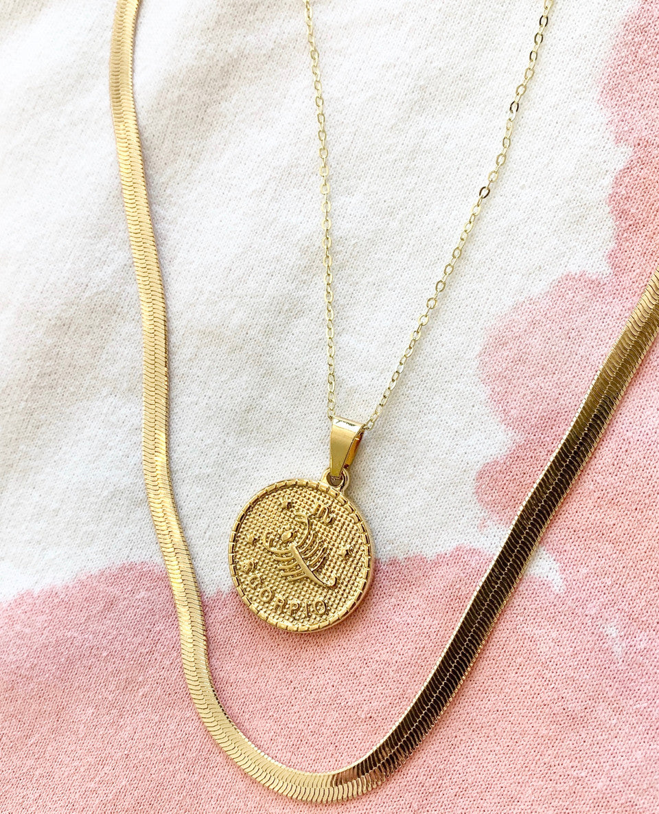 14k Zodiac Coin Necklace