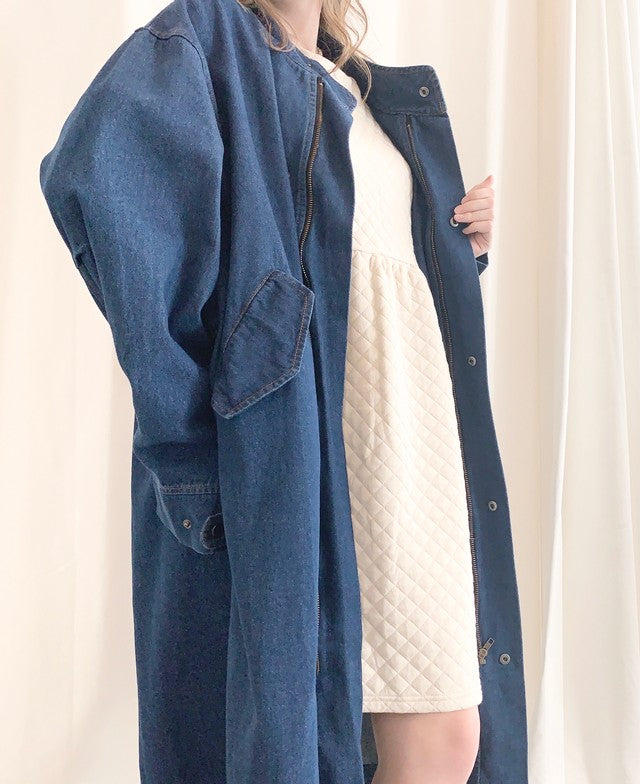 Oversized Denim Trench Style Coat
