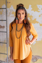 Load image into Gallery viewer, Mustard Scoop Neck Top with Curved Hem and Side Slit