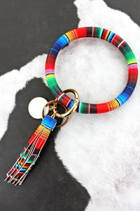 Serape Faux Leather Tassel Bangle Keychain