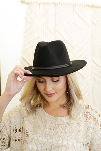 Wood Double Leather Ribbon Round Top Fedora