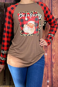 Be Merry Santa Claus Plaid & Leopard Top