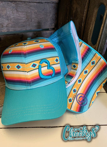 Cancun Serape Cap with Turquoise Cheeky's Heart