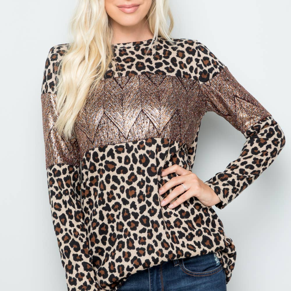 Leopard & Bronze Sequin Long Sleeve Top